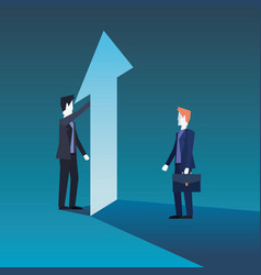 businessmen team with financial arrow growth vector image