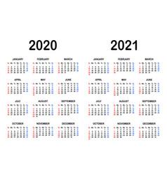 Calendar templates for 2020 and 2021 vector