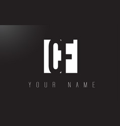 Cf letter logo with black and white negative vector