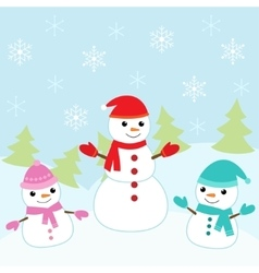 Christmas card with cute snowmen vector image