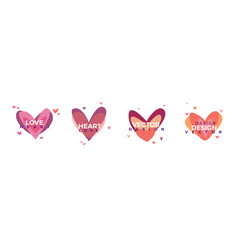 creative red hearts icon set valentines day sign vector image