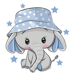 Cute elephant in panama hat isolated on a white vector
