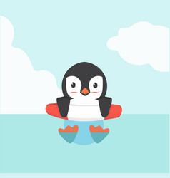 cute penguin swimming inflatable ring cartoon vector image