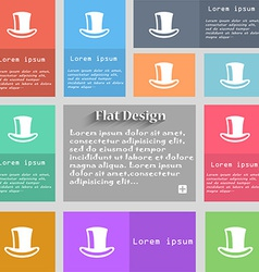 Cylinder hat icon sign Set of multicolored buttons vector