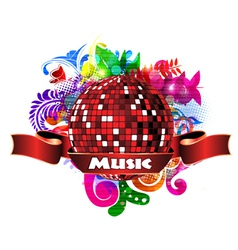 discoball with colorful floral vector image