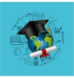 distance education graduation icons vector image