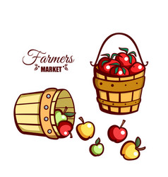 Farmers market apples tomatoes vector