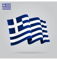 Flat and waving Greek Flag vector
