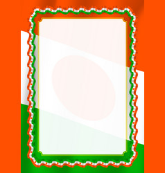 Frame and border of ribbon with niger flag vector
