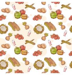 Fresh vegetables hand drawn seamless pattern vector image