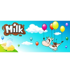 funny design with cow colorful balloon and milk vector image