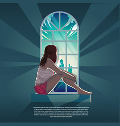 Girl looking out through window in morning vector