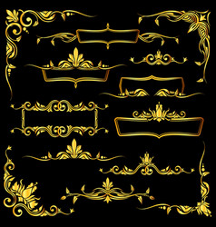 Golden ornate frames borders and corner vector