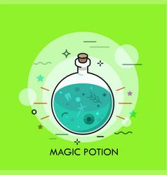 green liquid in round bottom flask vector image