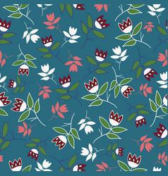 green winter folk florals seamless pattern vector image