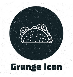 Grunge taco with tortilla icon isolated on white vector