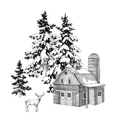 hand drawn winter landscape with farm and deer vector image