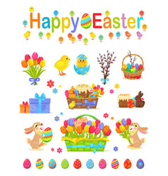 Happy easter traditional elements concept poster vector