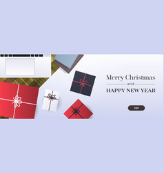 happy new year merry christmas poster workplace vector image