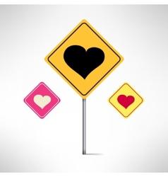 Heart road signs set Love warning vector