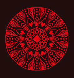 Henna tattoo red mehndi flower template doodle vector