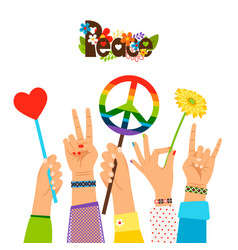 Hippie peace signs in hands vector