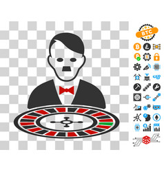 Hitler roulette croupier icon with bonus vector