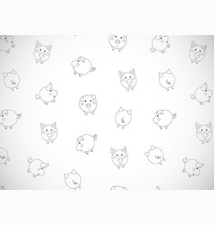 Horizontal greeting card with cute cartoon pigs vector