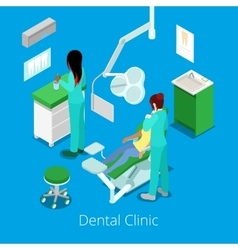 Isometric Dentist Cabinet Interior with Patient vector image vector image