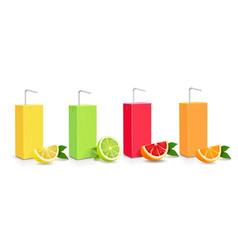 Juice citrus carton cardboard box pack 3d set vector