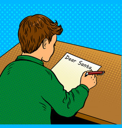 kid writes to santa claus pop art vector image
