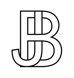 Logo sign bj jb icon sign two interlaced letters b vector