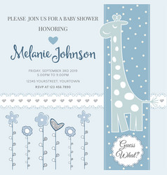 Lovely baby shower card template with silver vector