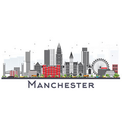 Manchester skyline with gray buildings isolated vector