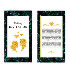 marble wedding invitations thank you card rsvp vector image