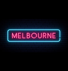 Melbourne neon sign bright light signboard vector