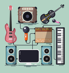 musical instruments cables and devices flat vector image