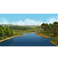 Nature landscape river background vector