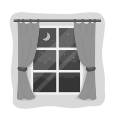 Night out the window icon in monochrome style vector image