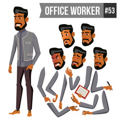 Old arab office worker traditional clothes vector