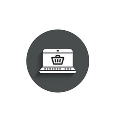 online shopping cart simple icon laptop sign vector image