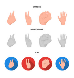 Open fist victory miser hand gesture set vector