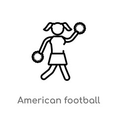 Outline american football cheerleader jump icon vector