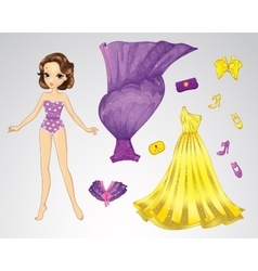 Paper Purple Princess Doll vector