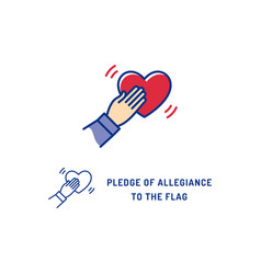 pledge allegiance to flag usa icon thin vector image