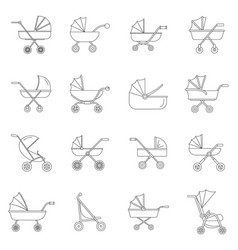 pram stroller carriage icons set outline style vector image