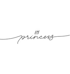 princess elegant black calligraphy with crown vector image