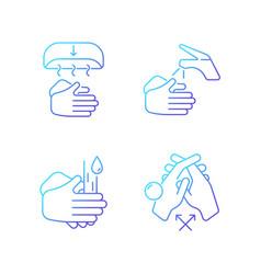 Proper handwashing gradient linear icons set vector
