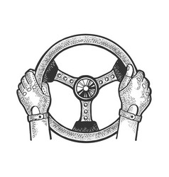 racer hands on steering wheel sketch vector image