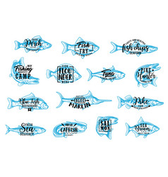 Seafood and fishing sport lettering icons vector